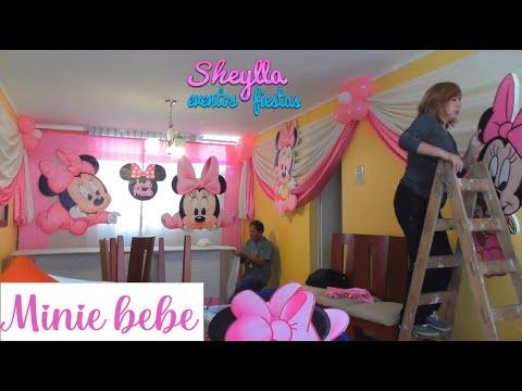 Minnie bebe, decoración de fiesta infantil, presentación de mesa temática para dulces, party