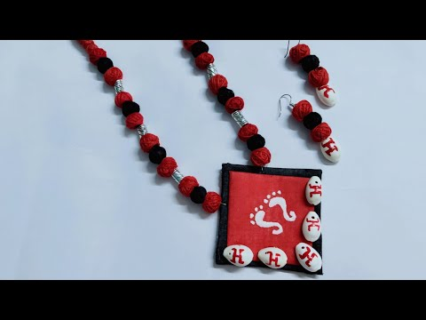 How to make fabric necklace।। Cotton beads necklace।। Kori necklace