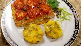 Лосось (салмон) запечённый с помидорами_Salmon baked with tomatoes