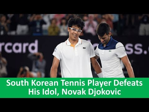 Learn English with VOA News - South Korean Tennis Player Defeats His Idol Novak Djokovic