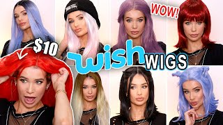 Trying On WISH APP Wigs! *AFFORDABLE LACE FRONT WIG HAUL!*