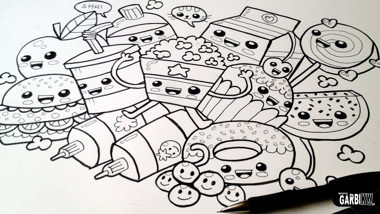 drawing cute food  easy and kawaii graffitigarbi kw