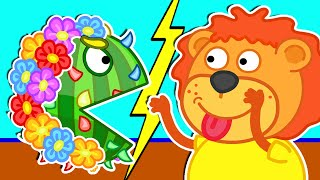 Lion Family Official Channel 😺 Pacman 3D In Rainbow Flowers | Cartoon for Kids