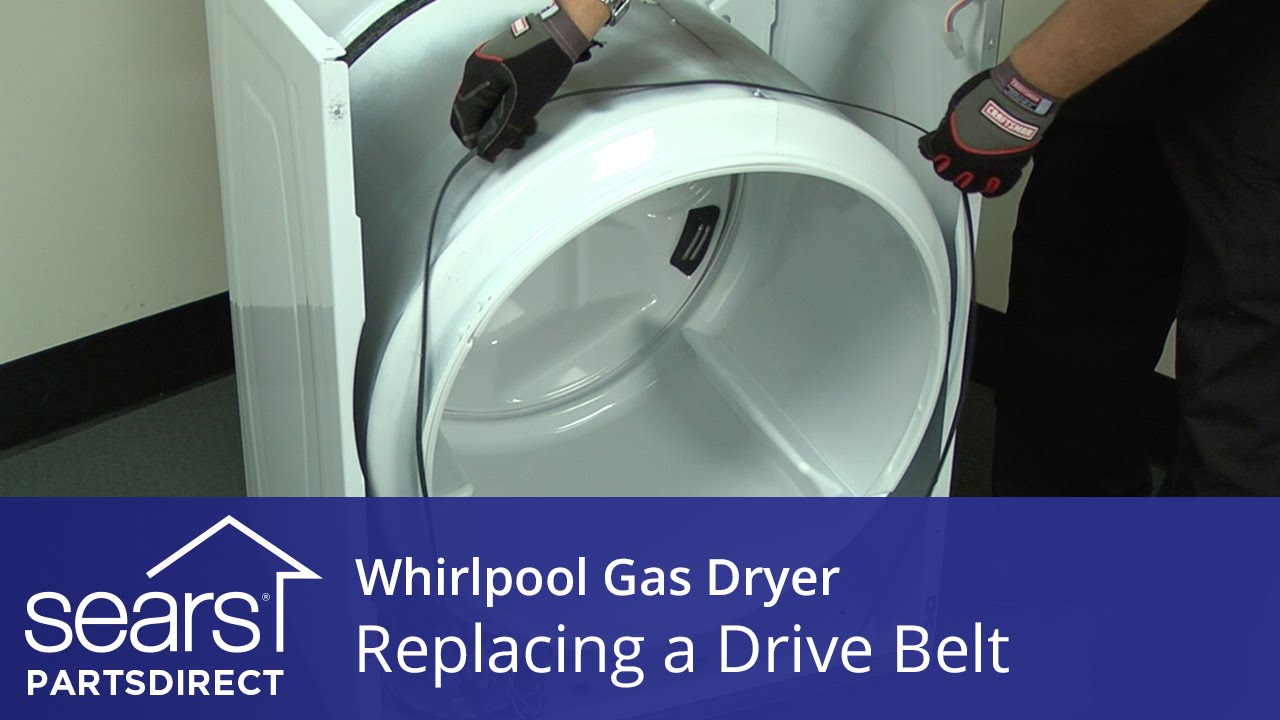 How to Replace a Whirlpool Gas Dryer Drive Belt - YouTube Diagram Dryer Wiring Whirlpool Lgq Kq on
