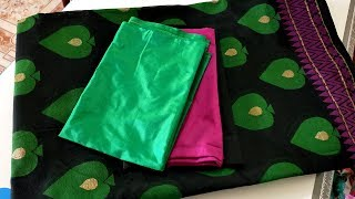 Easy And Simple Blouse Back Neck Design For Black and Green Color Saree Blouse