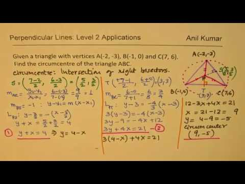 Find Circumcentre Of The Triangle With Vertices At A(-2, -3), B(-1, 0) And C(7, 6)