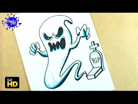 Halloween Como Dibujar Un Fantasma Paso A Paso How To Draw A