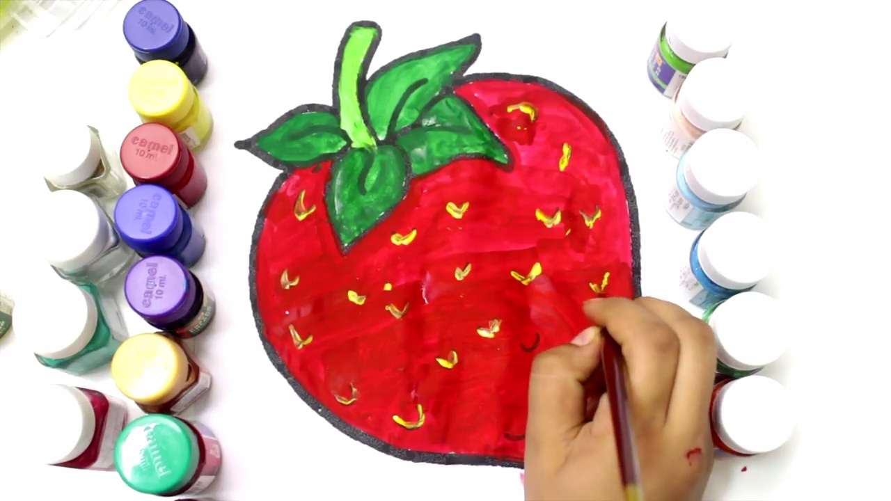 coloring strawberry to learn colors learn to color fruits
