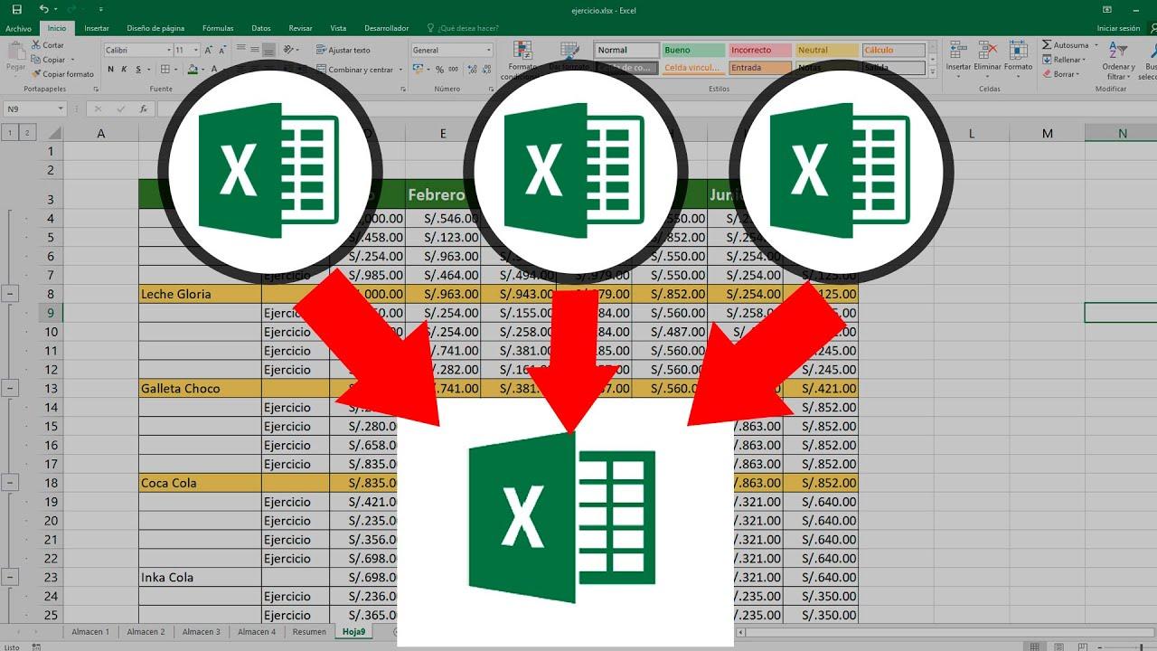 Cómo Juntar Varias Tablas De Excel En Una Sola Concatenar Tablas En Excel Youtube