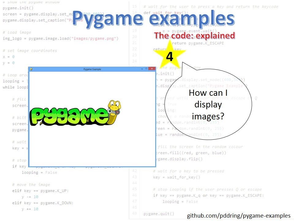 Pygame examples 4: How to display an image