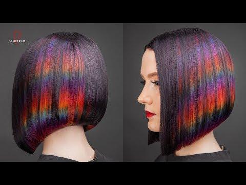 DEMETRIUS | Каре на удлинение + цветное окрашивание Глитч | Женская стрижка на короткие волосы
