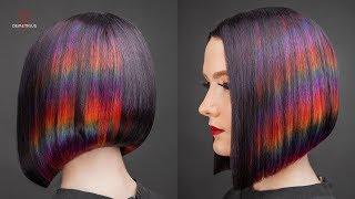 DEMETRIUS Каре на удлинение цветное окрашивание Глитч Женская стрижка на короткие волосы