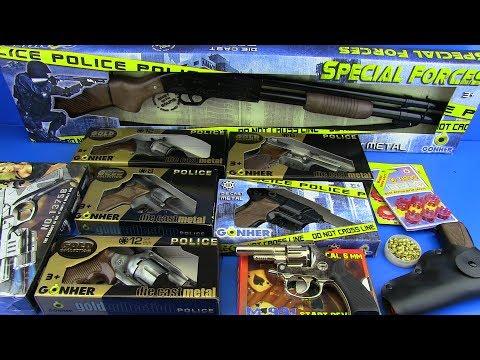 GUNS TOYS FOR KIDS !!! Cap Gun-Revolver,Shotgun Automatic Guns -Box of Toys !