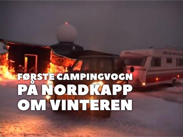 Første campingvogn på Nordkapp om vinteren. Se hele Peer Nesleins tur fra 2004 (Reklame)