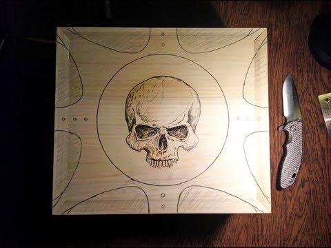 Work in Progress - Carved Skull Knife Box