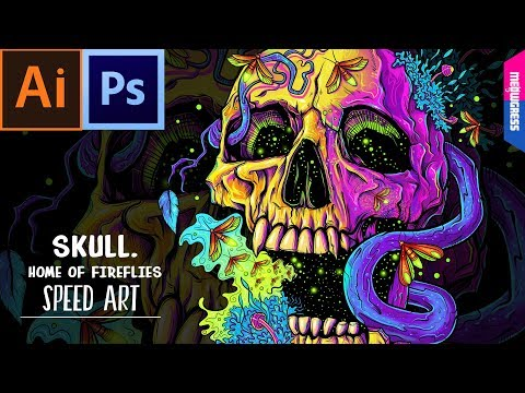 Skull. Home of Fireflies | Speed Art | ILLUSTRATOR + PHOTOSHOP