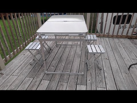 Unboxing and setup of outsunny folding aluminum picnic table with unboxing and setup of outsunny folding aluminum picnic table with chairs watchthetrailerfo