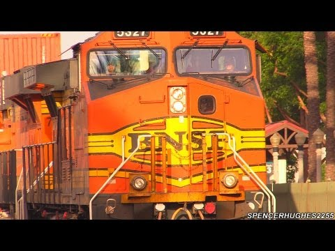 Fullerton, CA - Amtrak Trains, BNSF Trains, Metrolink Trains In (August 2nd, 2013)