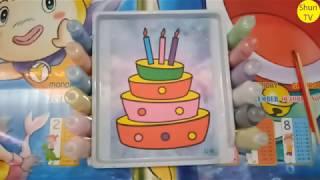 Tô màu bánh sinh nhật | tô màu tranh cát cho bé