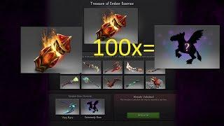 Открываем 100 сундуков Dota 2 Treasure of Ember Essence выпал unusual courier