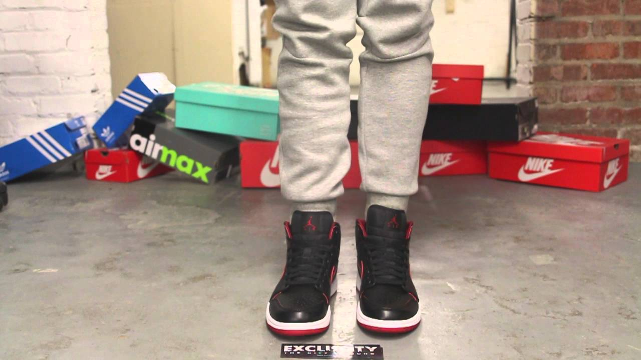 Air Jordan 1 Mid Bred On-feet Video at Exclucity - YouTube eb4b74292