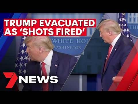 Donald Trump rushed from White House coronavirus briefing as 'shots fired' | 7NEWS