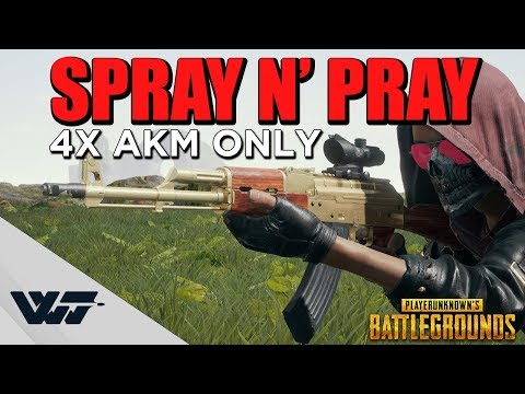 SPRAY N' PRAY - 4X AKM Madman Full-auto (non-cinematic gameplay) - PUBG