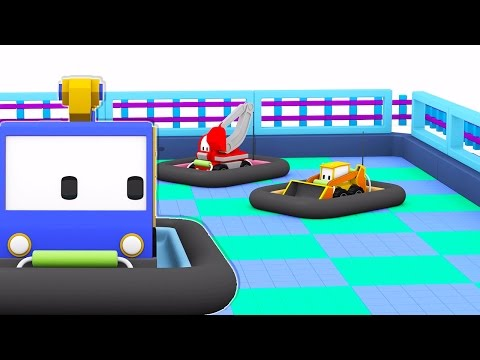 The Bumper Cars - Learn with Tiny Trucks, Dino the Dinosaur and trucks : bulldozer, crane, excavator