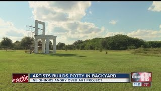 Creator calls giant potty chair a work of art