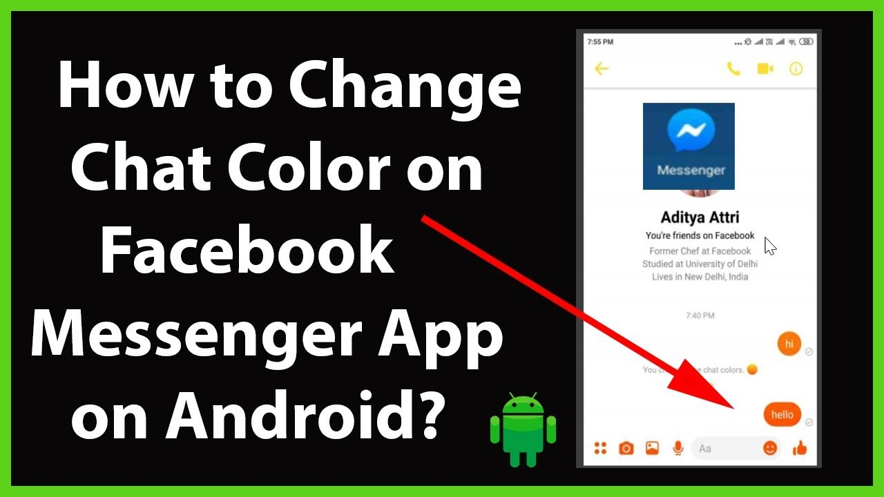 How To Change Chat Color On Facebook Messenger App On Android Youtube