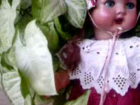 DETAIL, ALL COMPOSITION WALKER DOLL FROM THE 40`S