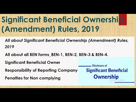 BEN-1, BEN-2, BEN-3 & BEN-4 I Significant Beneficial Ownership (Amendment) Rules, 2019