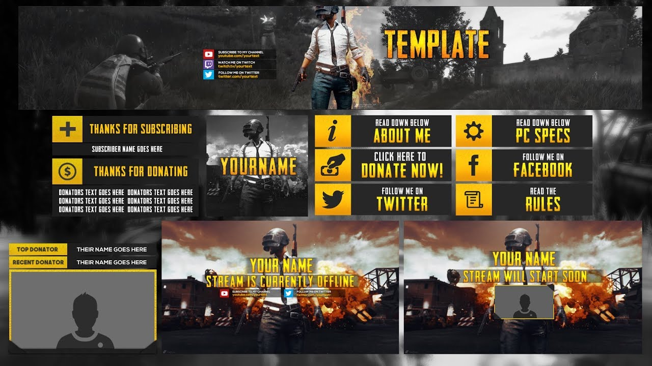 FREE TWITCH OVERLAY TEMPLATE (Playerunknown\'s Battlegrounds Overlay ...