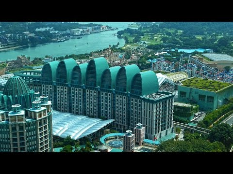 Singapore Tiger sky tower view 4K Sentosa island.