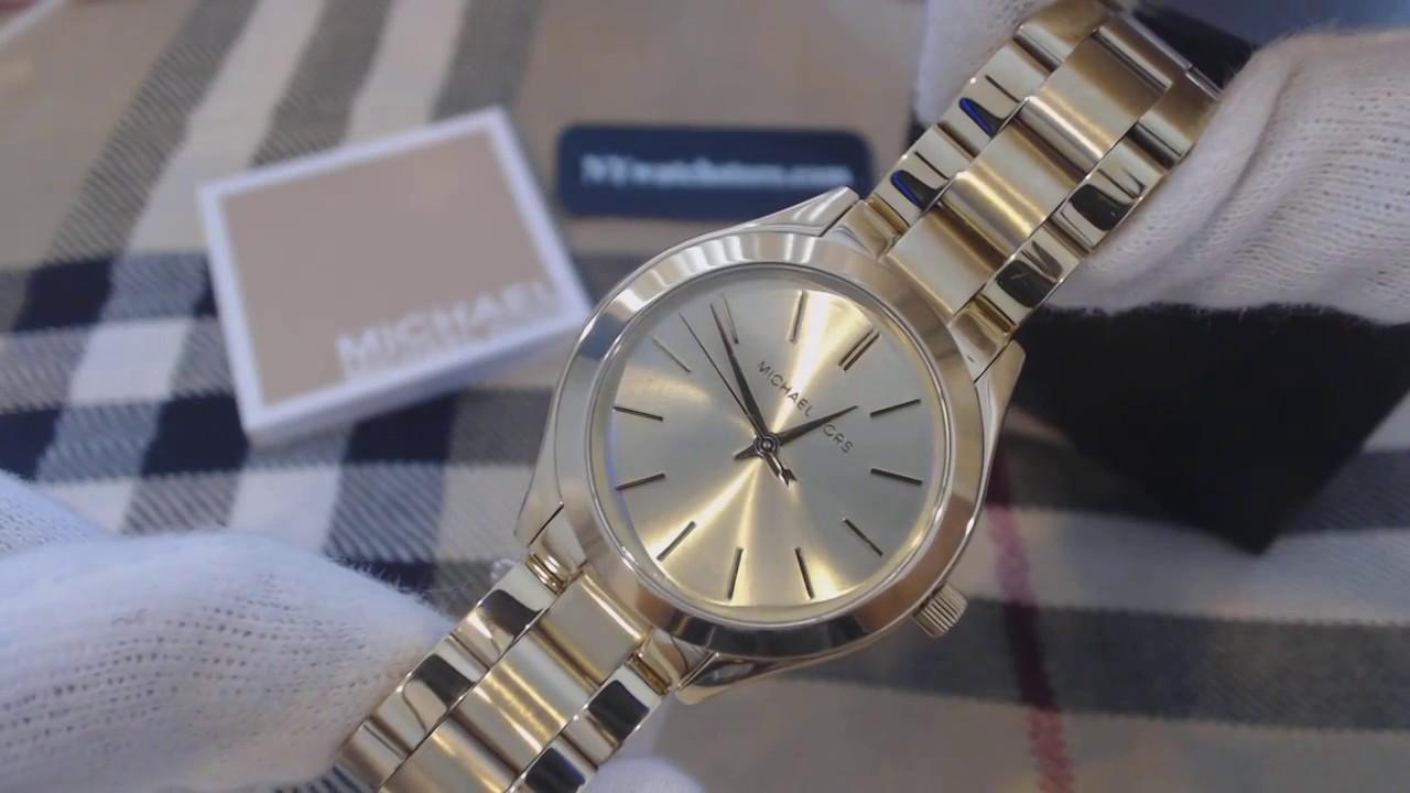 Women S Michael Kors Mini Slim Runway Gold Tone Watch Mk3512