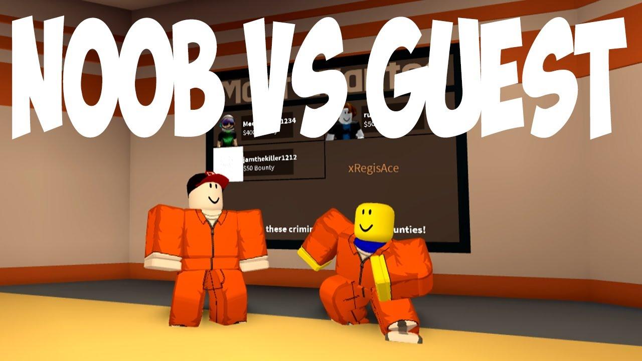 Noob Vs Guest Battle In Jailbreak Bounty Race Roblox Ibemaine