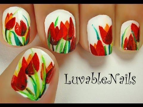 tulips flowers nail art - april