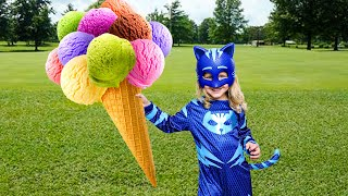 Little Panda Pretend Play Selling Ice Cream and becomes a Masked Superhero!
