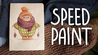 SPEEDPAINT | Иллюстрация укутанного детеныша маркерами и карандашами