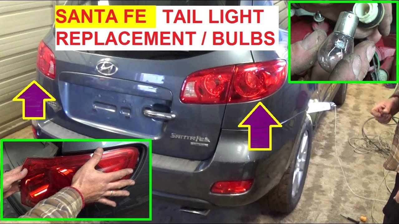 medium resolution of hyundai santa fe tail light brake light turn signal bulb replacement and tail light replacement 200