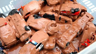 Box Full of Toy Cars Filled with chocolate. Wash cars. Video for kids.