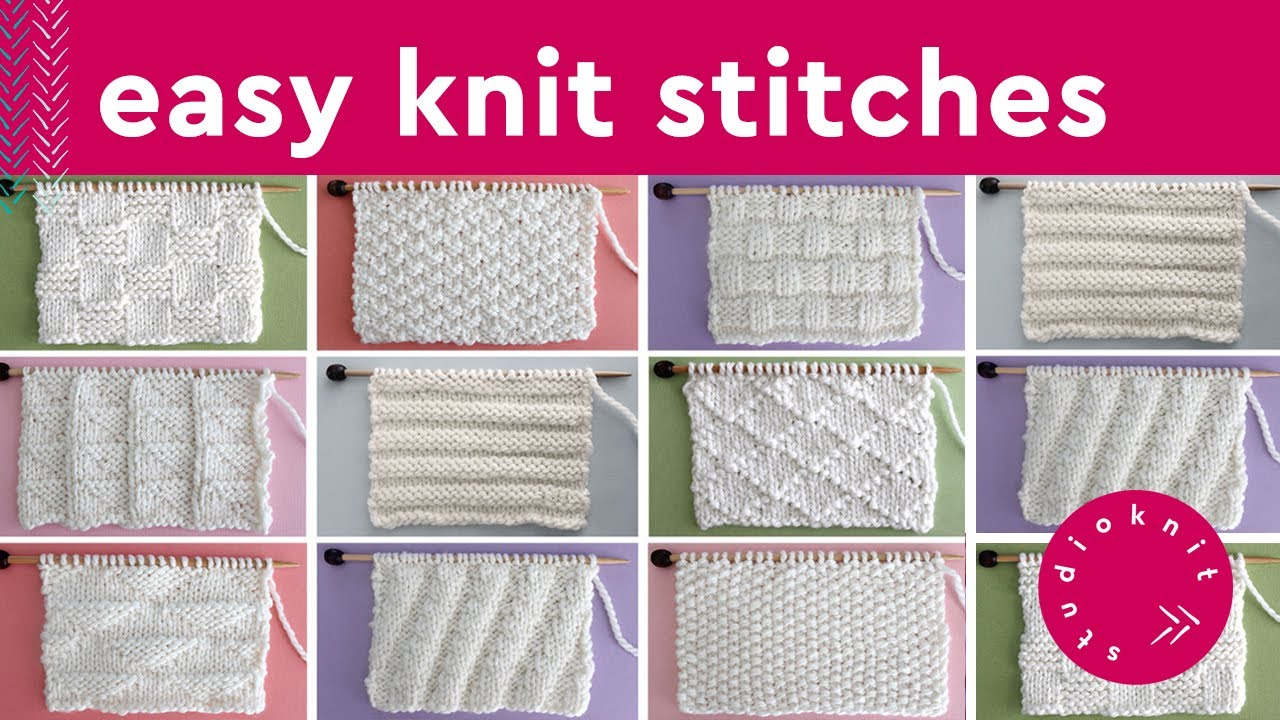 Knit Stitch Patterns For Beginners By Studio Knit Youtube