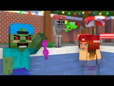 Monster School Kids Mobs: Party Pool Swimming! - Minecraft Animation