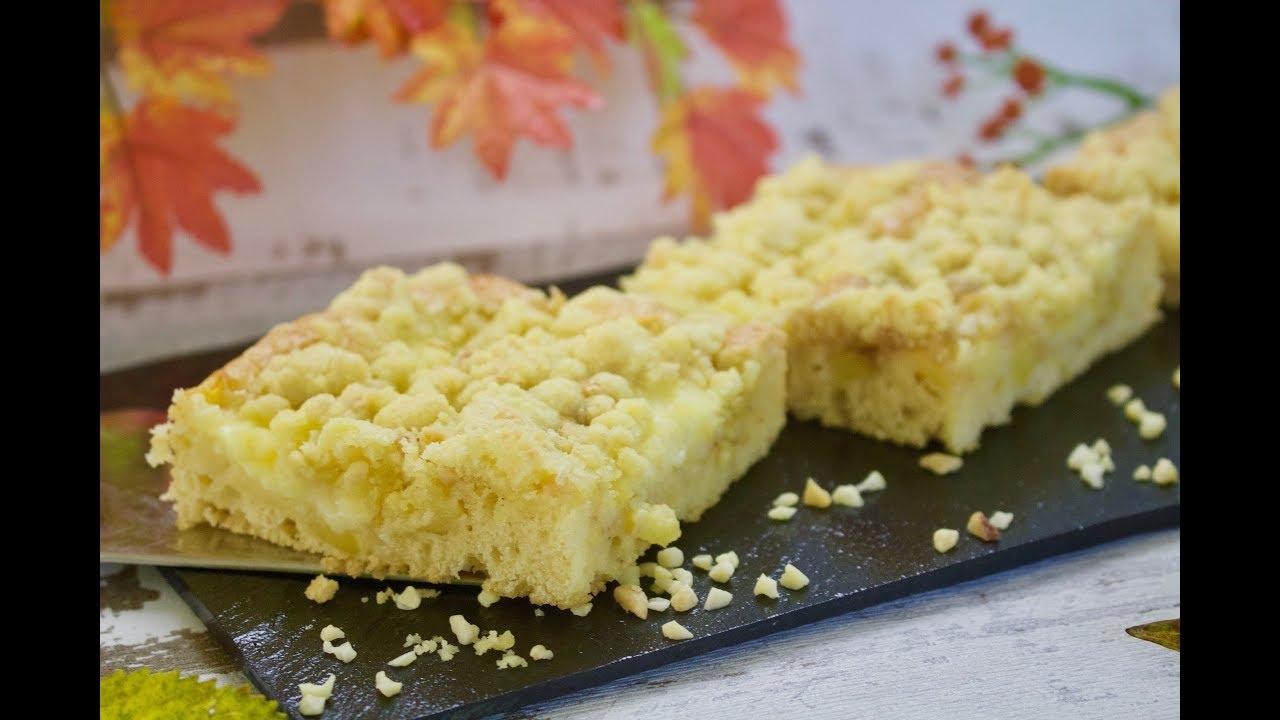 Apfelblechkuchen Mit Pudding Streuselkuchen Herbstlicher