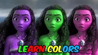 LEARN COLORS MOANA with Maui || Best Funny Video for KIDS || FUN KID COLORS