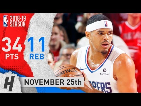 Tobias Harris Full Highlights Clippers vs Trail Blazers 2018.11.25 - 34 Pts, 11 Reb