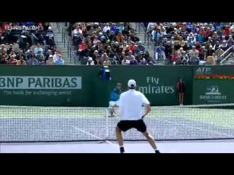 Download Roger Federer Hits Hot Shot In Indian Wells Final
