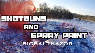 Shotguns and spray paint slow motion