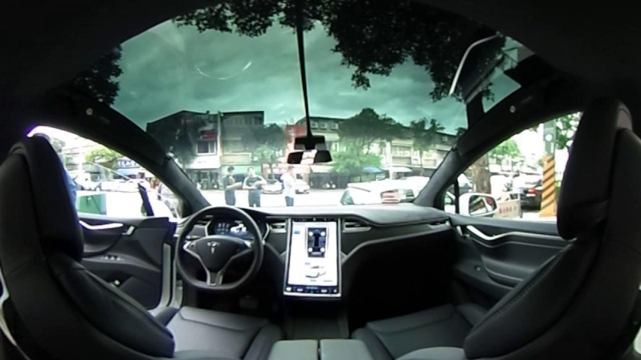 Tesla Model X Falcon Wing Doors open (inside view) - YouTube