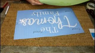 DIY personalized doormat using cricut stencil vinyl   Cricut explore air 2